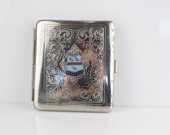 Tourist Souvenir Skegness 1930's Silver Tone Cigarette Case Made in England  Very Used Battered and Bruised