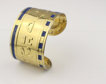 1980s Gold Plated and Blue Enamel Egyptian Style Cuff Bangle