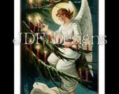 Instant Digital Download, Vintage Victorian Era Graphic, Christmas Angel Lighting Candles on Pine Tree, Antique Print Printable Image