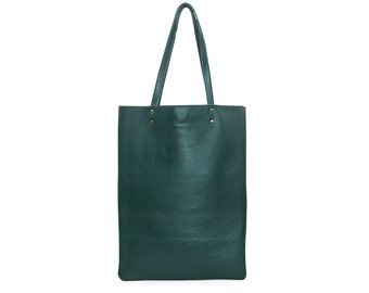 Forest green leather handbag, leather tote bag, green leather shoulder bag