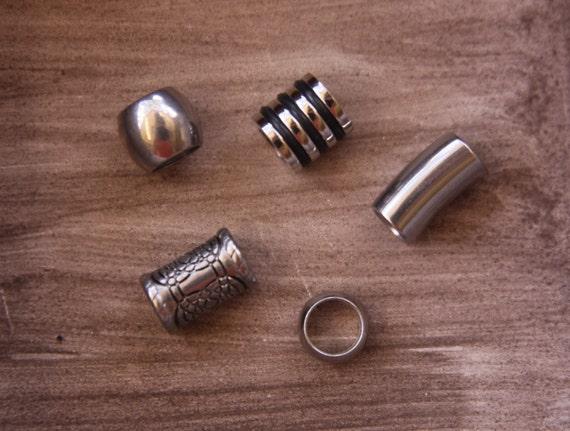 Mezcla de 5 acero 6mm 7mm 1/4' agujero Dreadlock grano negro