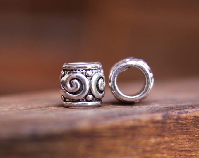10 Tibetan Style Silver Swirl dot. 6mm Hole (14 Inch)