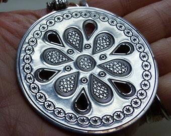 "White Enamel Brighton Pendant Necklace -37 grms- 57mm  diameter -16.5"" chain adjusts 1931"