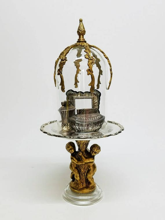 Unique Bell Glass Cloche Dome On Pedestal Silver Plate And Brass Exclusive Design Antique Vintage Salvaged Parts