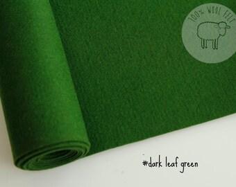 """Dark green felt, wool felt in dark leaf green, 100% wool felt band 20cm by 91cm (9"""" x 36""""), 1 - 1,2mm - Ships from Ireland"""