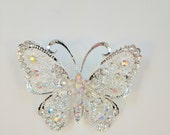 Silver Filigree Butterfly Magnetic Brooch Acrylic Rhinestone Sash Pin Pageant in Silver