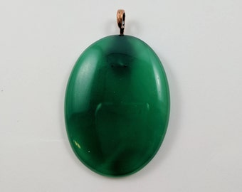 Oval Green Onyx Pendant with Leather Cord