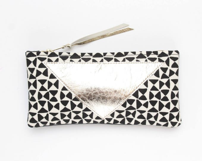 Cotton pouch-natural leather pouch-monochome-black and white prints-make up bag-cosmetic purse-bag organizer-small purse /FLARE 122