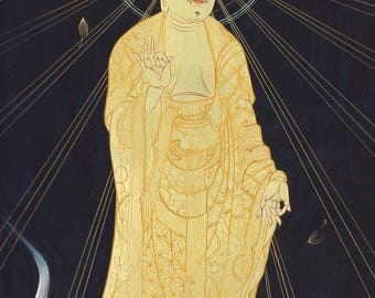 Antique / Vintage Japanese Fine Art Wall Hanging Art Painting Amida Nyorai Buddha Kakejiku – 1607027