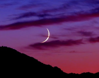 New Moon by Catherine Roché, Astronomy, Crescent Moon Photography, California Landscape Photography, Sunset Photography, Fine Art