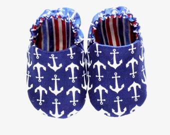 Nautical Baby Boy Shoes with Anchors, 0-6 mos Baby Booties, Slip on Baby Boy Shoes, Red, White, and Blue, Baby Gift, Red White and Blue Baby
