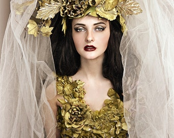Antique Gold floral hair wreath crown headpiece fascinator hat headdress fashion accessory