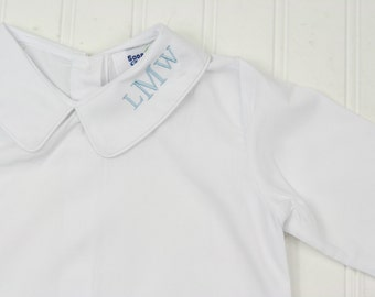 Baby Boys Dress Shirt - Monogrammed Boys Shirt - Peter Pan Collar Shirt - Baby Boy Ringbearer Outfit - Boys Button Down Shirt - Monogram Top