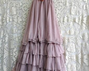 cocoa & tan applique tiered chiffon boho bridesmaid dress by mermaid miss k