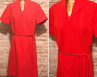 Vintage 1960s Orange Dress With Chain Belt //  60s Dyanne if Dallas Dress // size extra large XL