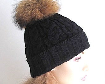 Raccoon Fur PomPom Cap Beanie Black Skull Hat fall winter Cable Knit Hand Made Accessory