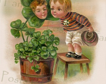 Adorable Kids with Flower Pot of Shamrocks, Instant Digital Download, Erin Go Bragh, Irish Printable Art