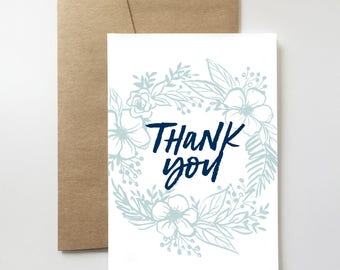 Floral Thank You Card | Gratitude. Hand Lettering. Flowers. Illustration. Sweet.