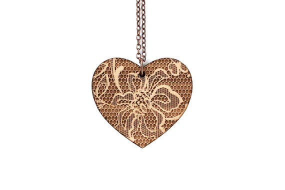 Heart pendant with lace pattern - romantic necklace - graphic jewelry - wedding jewellery - lasercut maple wood - statement necklace