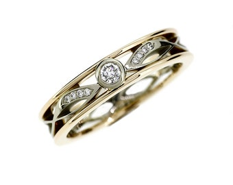 Diamond ring, filigree, wedding band, yellow gold, white gold, diamond wedding, lace ring, filigree wedding, diamond, two tone
