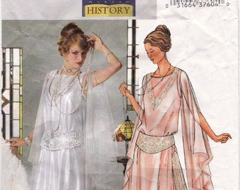 """UNCUT Wedding Gown, Prom Gown or Tunic Gown & girdle, Circa 1914 History Costume Sewing Pattern [Butterick 4093] Size 12 14 16, Bust 34-38"""""""