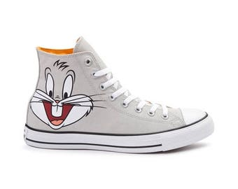 Kids Converse Looney Tunes High Top Bugs Bunny Cartoon Gray Childrens w/ Swarovski Crystal Rhinestons Chuck Taylor All Star Sneakers Shoes