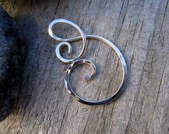 Sea Mist Heavy Gauge Charm Holder / Ring Holder Pendant - Free Form Sterling Wire Work