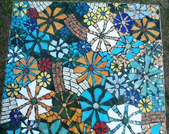 SOLD/ Have One Custom Made / Stained Glass Piece Made Mosaic Table Top / Inside or Out