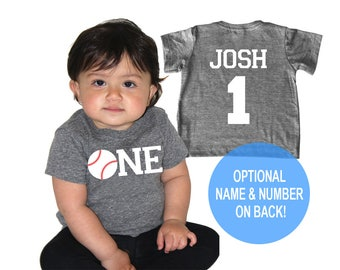 One Baseball Tri Blend Baby First Birthday T-Shirt - Infant Boy and Girl Tee