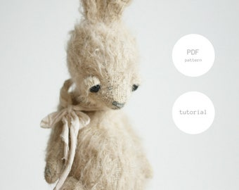 PDF Sewing Pattern & Tutorial Mohair Rabbit 6 Inches Stuffed Animal Pattern Easter Bunny Pattern Artist Teddy Bear Pattern For Woman