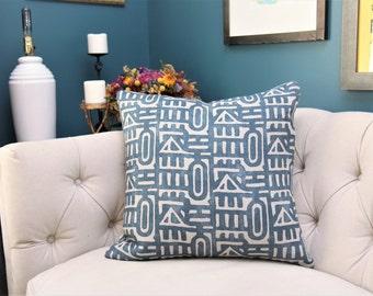 Blue Geometric Romo Pillow Cover - Moroccan Tribal Home Decor - Designer Dark Blue Linen Pillow Cover