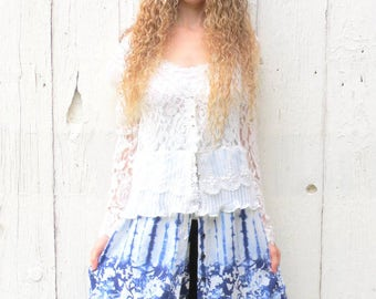 Lace Duster, Stevie Nicks style jacket, gypsy coat, lace cardigan, upcycled clothing, shabby chic jacket, blue floral duster, womens size m