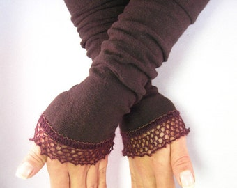 Arm cuff, fingerless gloves in Brown with wool ruffle