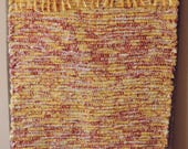 "Hand Woven Rag Rug - Yellow Red Runner - 22"" x 54"""