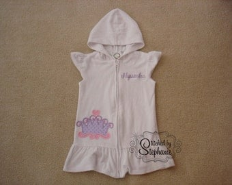 Baby or toddler girls embroidered name or monogrammed beach pink purple princess tiara crown applique on white terry swim coverup dress