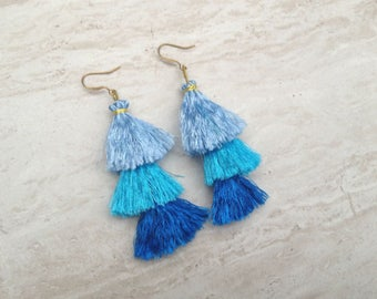 Aqua Silk Tassel Stack Earrings Festival Tassel Earrings Tassle Earings BOHO Chic Earrings Gypsy Tassle Jewelry Trending Wholesale Jewelry