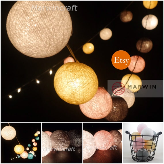 20 Big Cotton Balls Pastel Shade Tone Fairy String Lights Party Patio Wedding Floor Table Hanging Wall Home Decor Living Bedroom Holiday