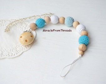 Wooden Dummy clip, Blue Pacifier chain, wooden teether, baby holder toy, Beaded pacifier clip, Pacifier holder, Accessory baby,Chewing beads
