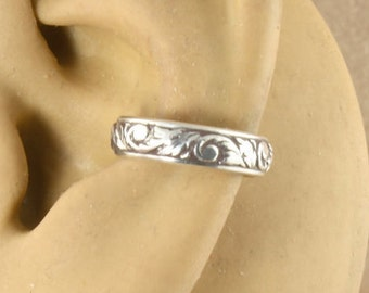 Sterling Silver Cartilage Cuff - Cartilage Earring - Non Pierced - Ear Wrap - Ear Band - Gift Under 10 - Swirl and Leaf Pattern