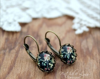 Floral Earrings, Flower Earrings, Black Floral Earrings, Floral Jewelry, Drop Earrings, Dangle Earrings,  Boho Earrings, Brass Earrings