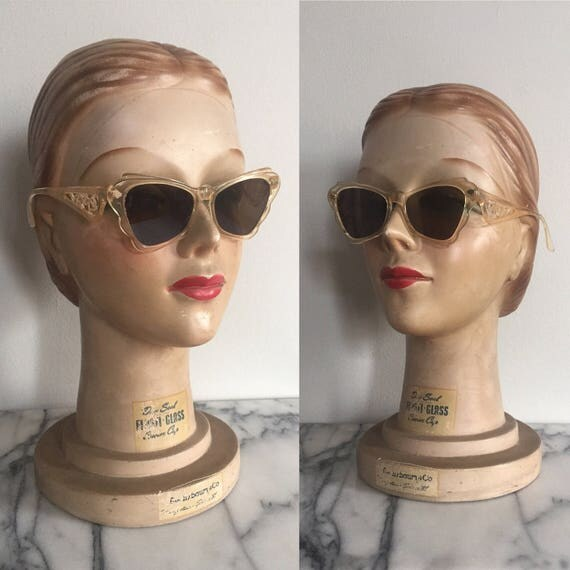 1940s Peach Celluloid Novelty Sunglasses with Cupid & Bow Wings - Shell Pink Plastic Sunglasses