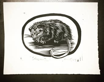 Awesome Opossum! - Original Linocut Print - 5x7""