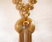 Gold MONET Statement Tassel Pendant Necklace | Vintage