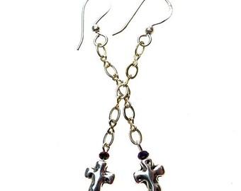 Cross Earrings, Dangling Silver Hammered Cross Earrings with Crystals, Christian Jewelry, Cross Dangle Earrings - SE-P0461