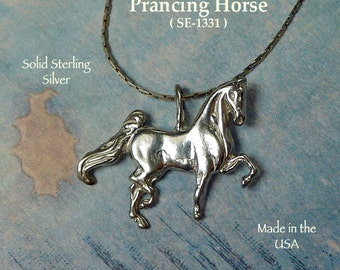 Sterling Silver Horse Pendant, Bailed Prancing Horse Necklace, .925 Equestrian Jewelry, Horse Lover - SE-1331