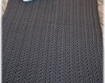 Ultimate Qiviut Luxury: Throw Blanket / Afghan hand knit in pure qiviut with cable pattern - MADE TO ORDER