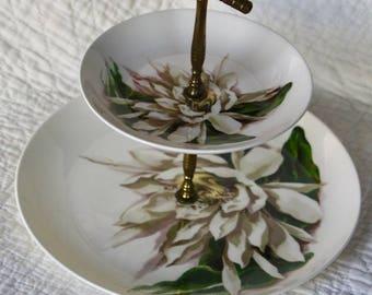 1950 Vintage Tiered Server; Rare Santa Anita Ware Night Blooming Cereus Flowers of Hawaii Pottery Made in California
