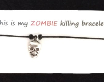 ZOMBIE themed BRACELET on waxed cotton cord Or Silver Plated Key Ring Or Silver Plated Necklace Or Black Velveteen Choker
