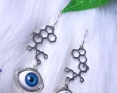 Blue eyes with LSD molecules earrings