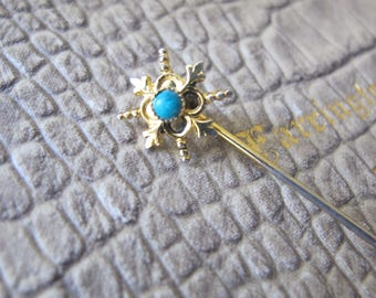 Antique-Revival Goldtone Regal Stickpin w Turquoise Faience Stone. Vintage. Scottish Highlander (?) Style. OURLANDER Fashion Accessories